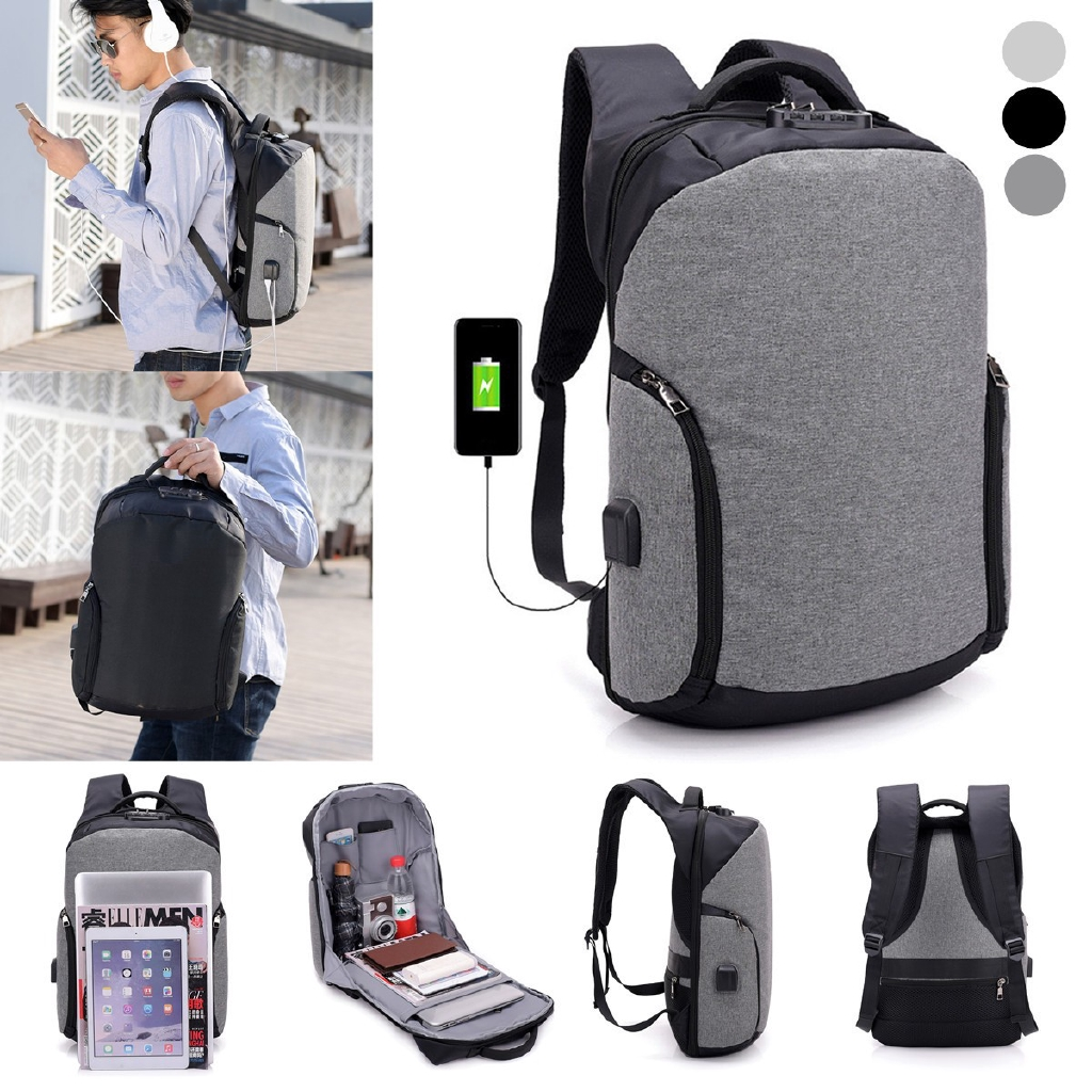 ade0ce646e  TEEMI USB Charging Port Backpack Canvas Travel Laptop Bag Student College