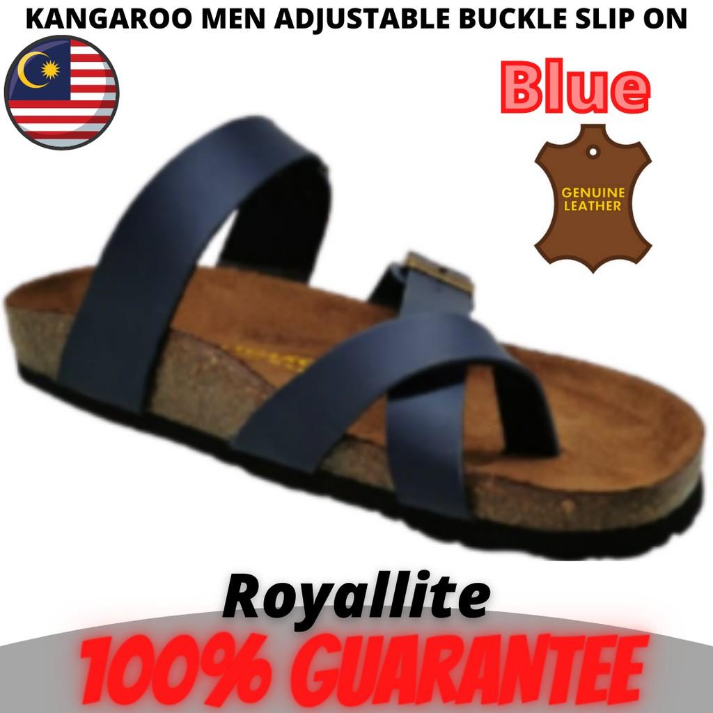 KANGAROO MEN ADJUSTABLE BUCKLE SLIP ON SANDALS (KM3688) Brown & Blue