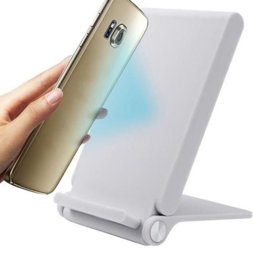 3 COILS WIRELESS CHARGER FOLDING CHARGING HOLDER FOR IPHONE / ANDROID  (WHITE)