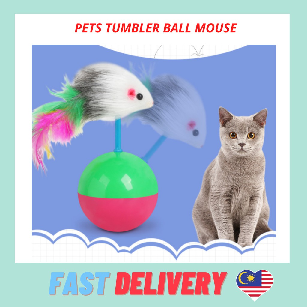 Pet Tumbler Ball Mouse Feather Pet Cat Play Ball Toy
