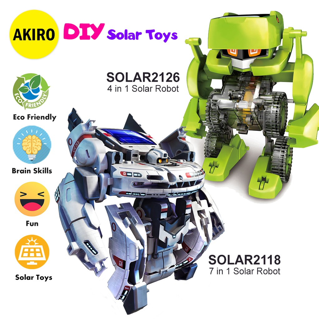 [BUY 2 FREE SHIPPING] AKIRO Educational Solar Power Toys DIY Robot Kit Toy