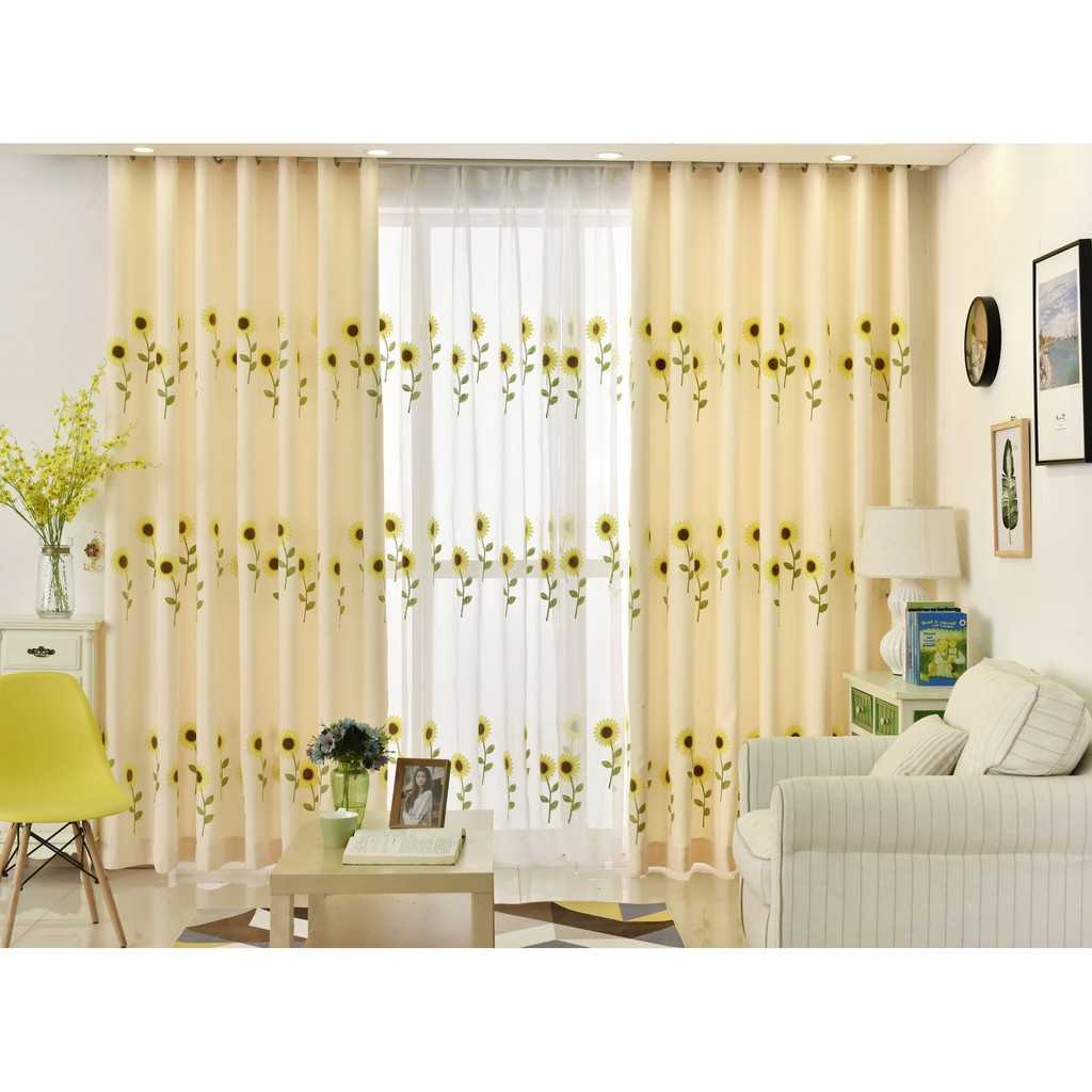 Blackout Curtain Drapes Living Room Embroidered Sunflower Transparent Voile Sheer Window Curtain For Bedroom