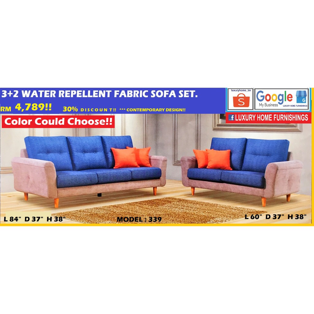 SOFA SET COLLECTIONS, 2+3 SEATER WATER REPELLENT FABRIC SOFA, RM 4,789!! ENJOY 30% OFF