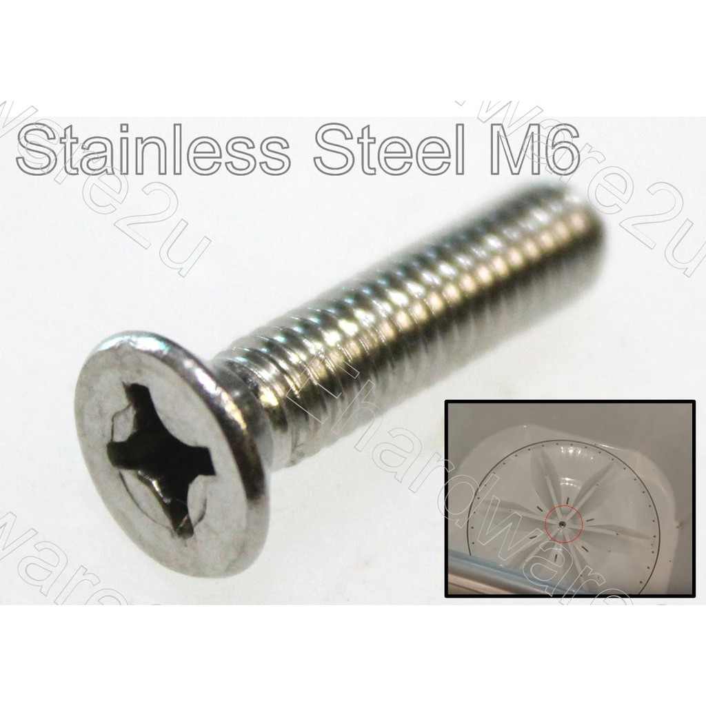 Washing Machine Pulsator Plate Stainless Steel Center Screw Replacement M6 / M8 (PS-M6M8)