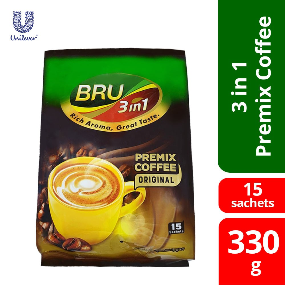 Bru 3 In 1 Original 15 Sachets 330g