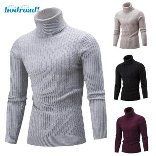 Men Winter Warm Sweater Slim Fit Knitted High Neck Pullover