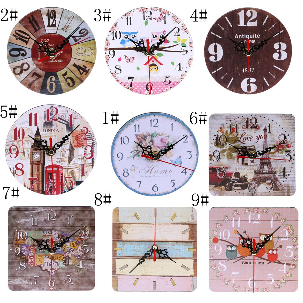 Vintage Wooden Wall Clock Shabby Chic Rustic Kitchen Home Antique Timer NEW