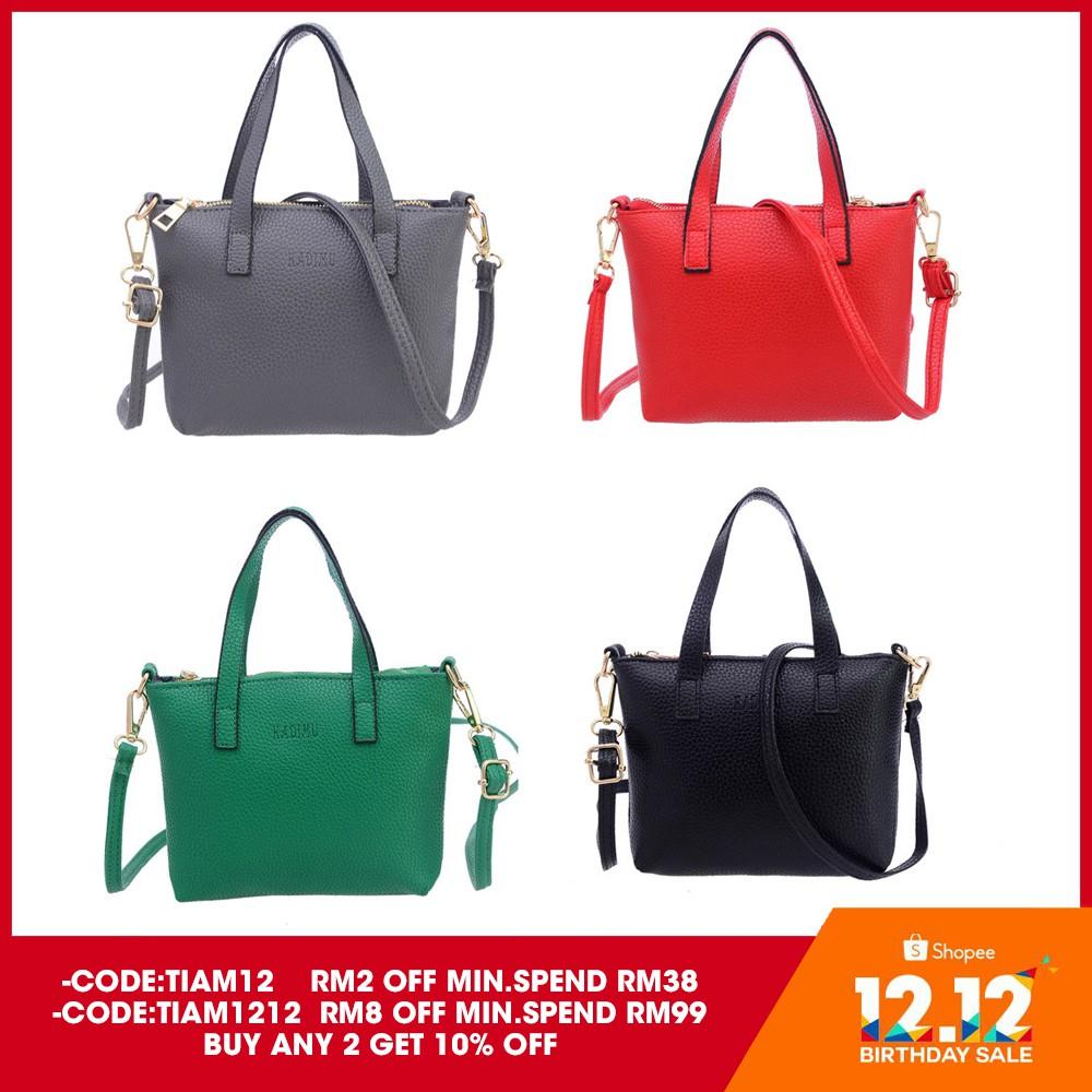 5ab192a3600 Fashion Women Ladies PU Leather Handbag Messenger Shoulder Bag Large Tote  Bag   Shopee Malaysia
