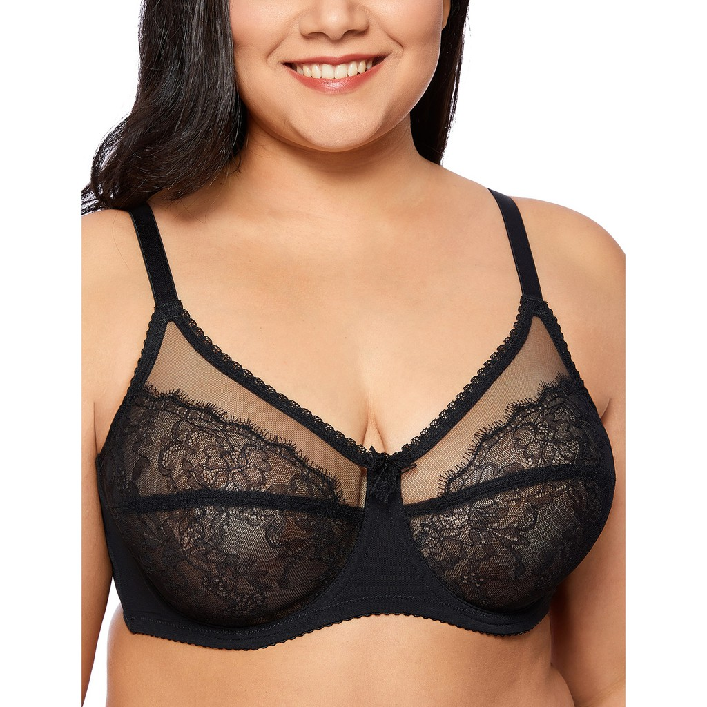 244f97891a6 Delimira Women Full Coverage Lace Plus Size Wireless Non Padded Cotton Bra  W604