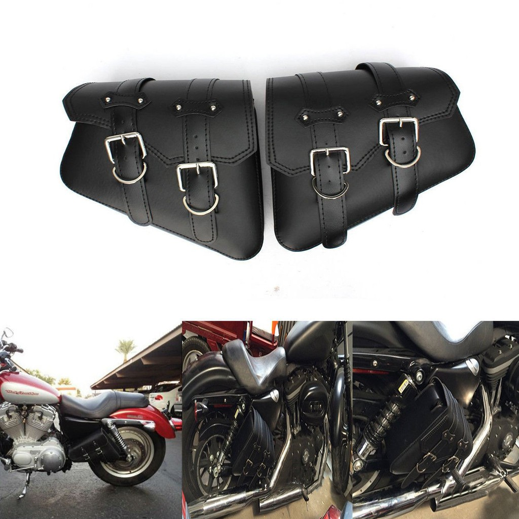 4561901b6201 PAIR Motorcycle Leather Side Saddle Bags Storage For Harley Sportster  XL883/1200