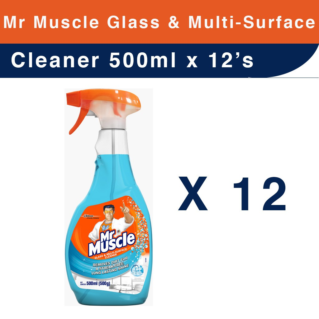 12's of Mr Muscle Glass & Multi-Surface Cleaner 500ml