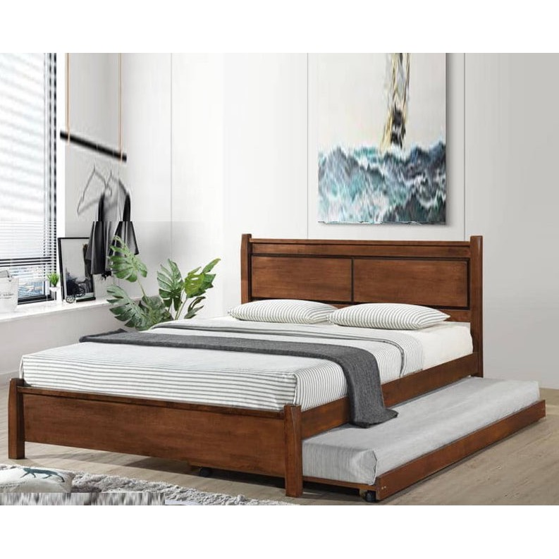DB55519 CLINTON Solid Wood Bedframe With Pull Out Bed Walnut Color