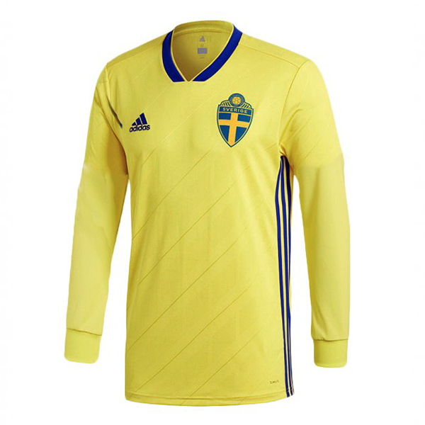 Sweden Long Sleeve Men Home World Cup 2018 Fans Issue Jersey