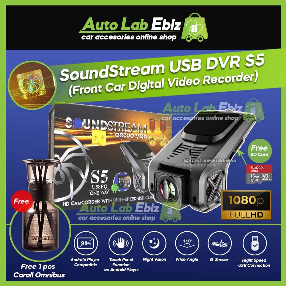SoundStream USB Front DVR Car Camera HD Driving Video Recorder S5 for Android Player (Free Carall Omnibus)