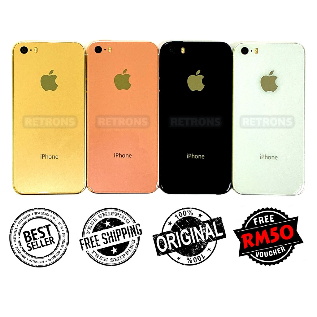 Apple iPhone 5S Custom-Made Polished Aluminum Bezel & Glass Back Design [1 Month Warranty] Refurbished New by Retrons