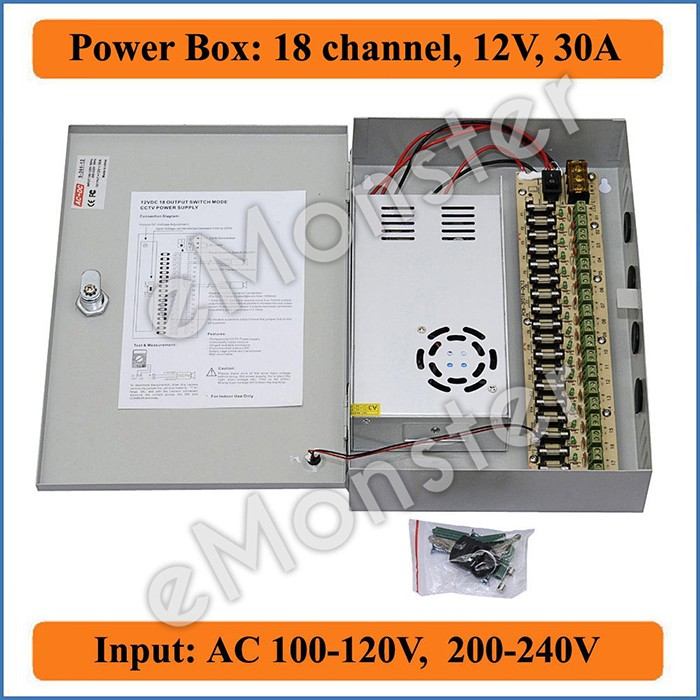 18CH Ports 12V DC 20A Power Supply Distribution Box for CCTV Security Camera BE