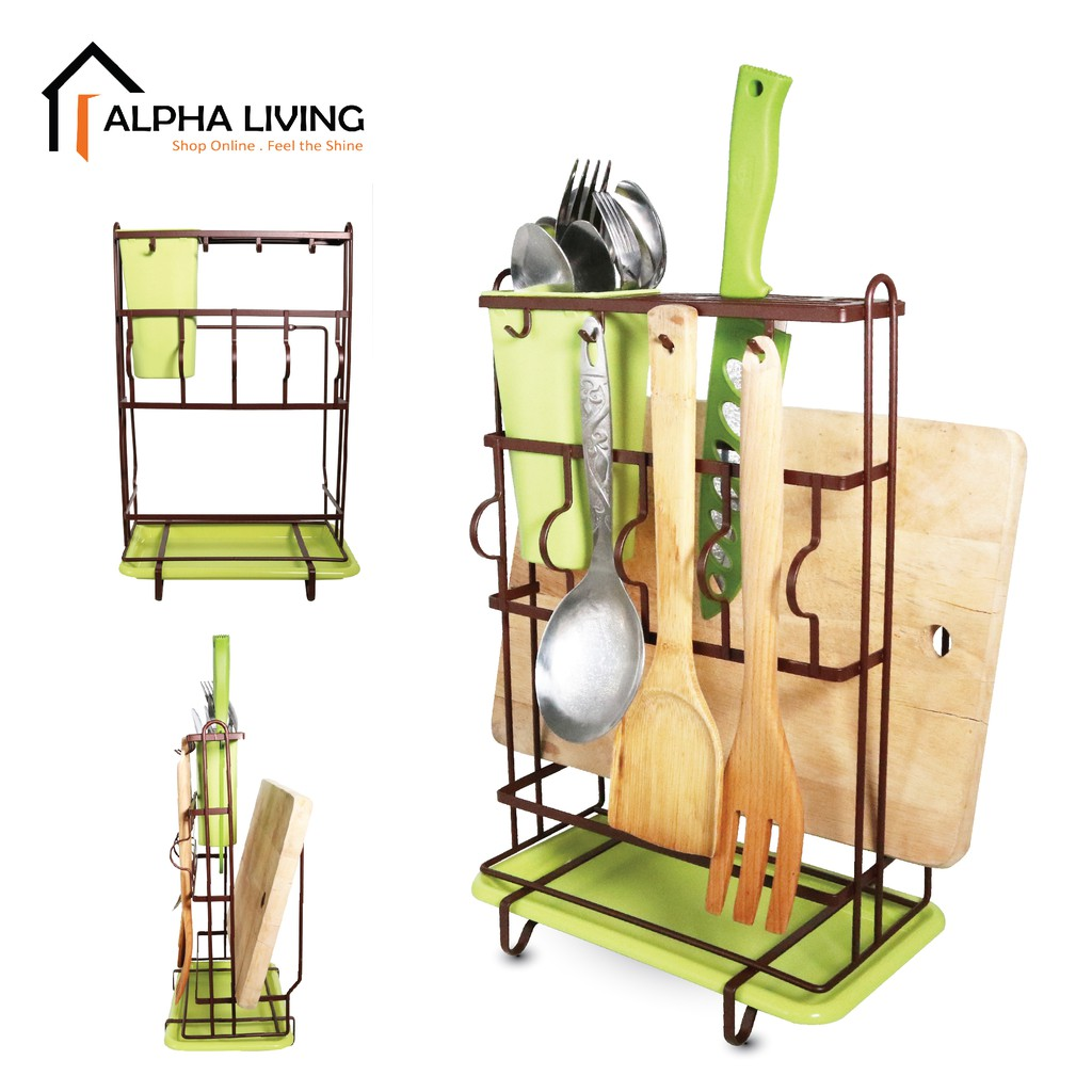 Ready Stock Sink Top & Wall Mounted Cutlery, Knife & Chopping Board Holder with Tray (KTN0152)