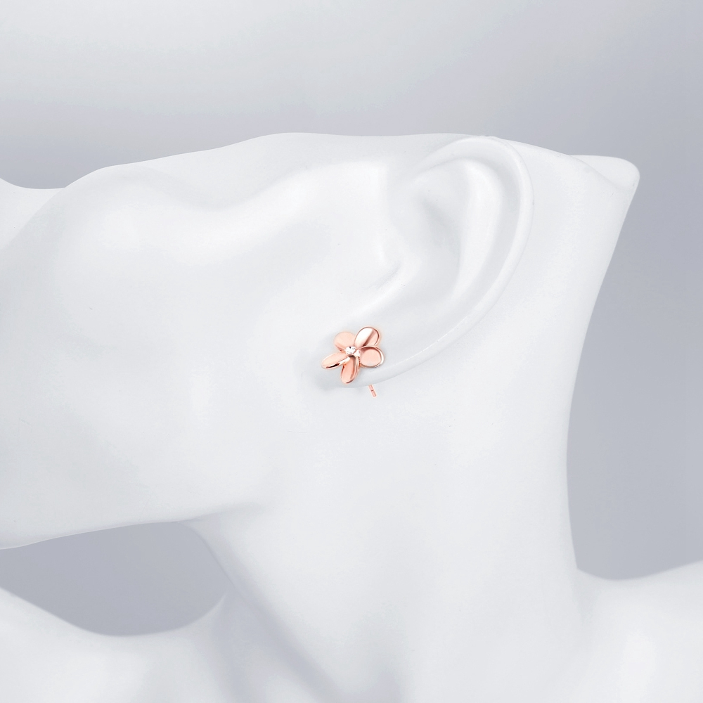 K Gold Europe and America Popular Simple Flower Earrings Plated Rose Gold
