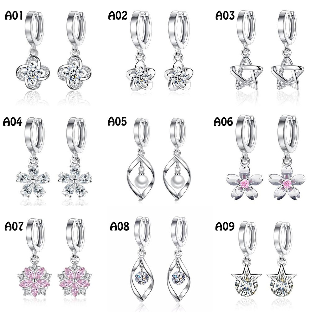 e1f35a2d7d370 【Ready Stock】S925 Silver Earring Fashion Earrings Zircon Ladies Women Woman  Jewelry Ear Hoop