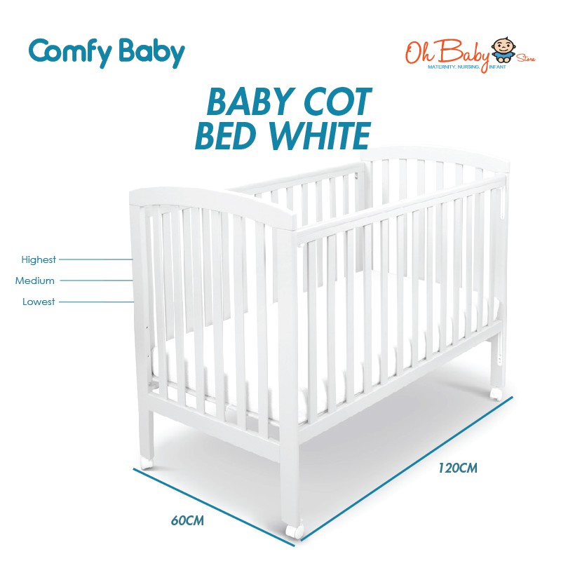 Solid Coco Wood Baby One Cot Deluxe Cot Mattress//3 Position Base Height //New Born
