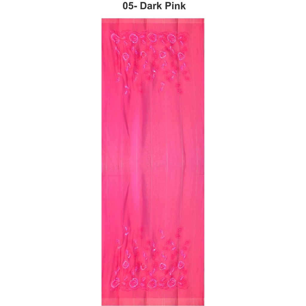 Sawks Hijab Long Shawl - Decorated with Floral & Leaves Rhinestones