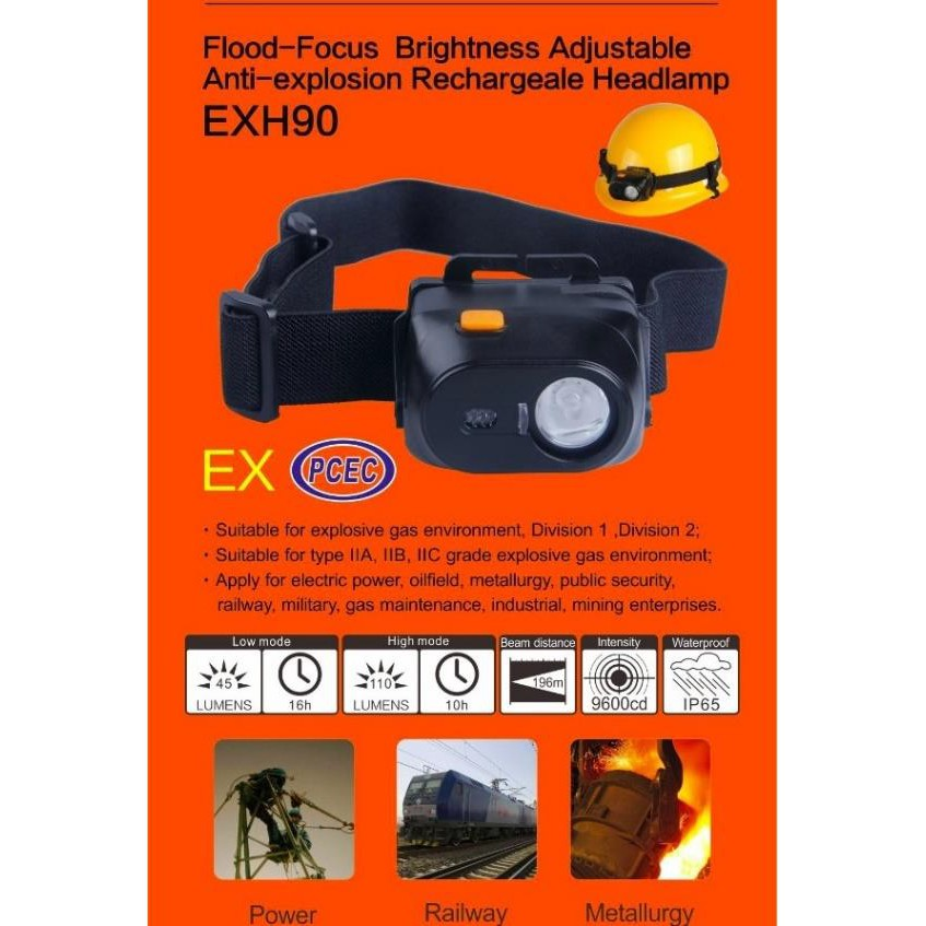 NICRON EXH90 EX PCEC RECHARGABLE HEADLAMP LAMP TORCHLIGHT FLASHLIGHT IP65