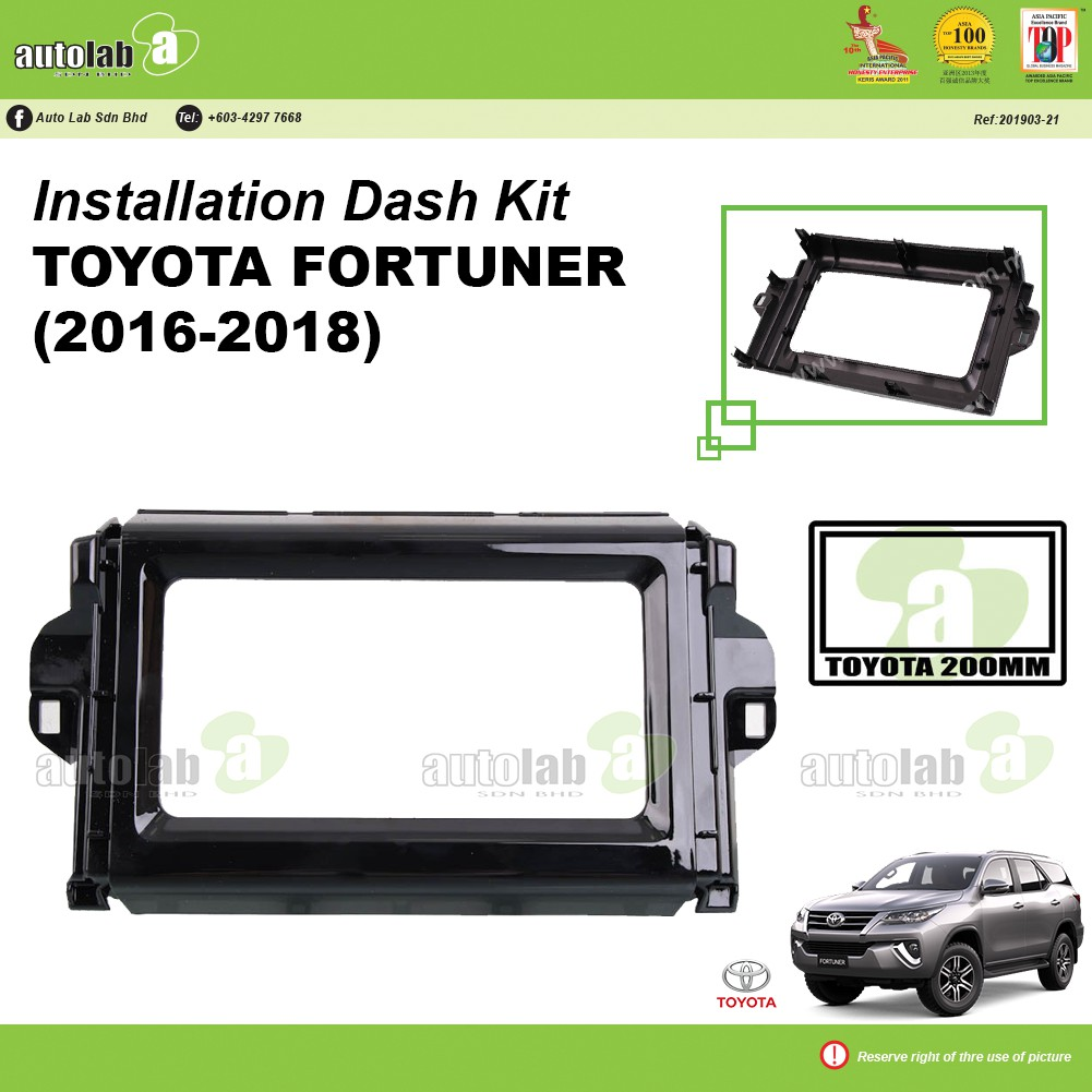 Player Casing Double Din Toyota Fortuner 2016-2018