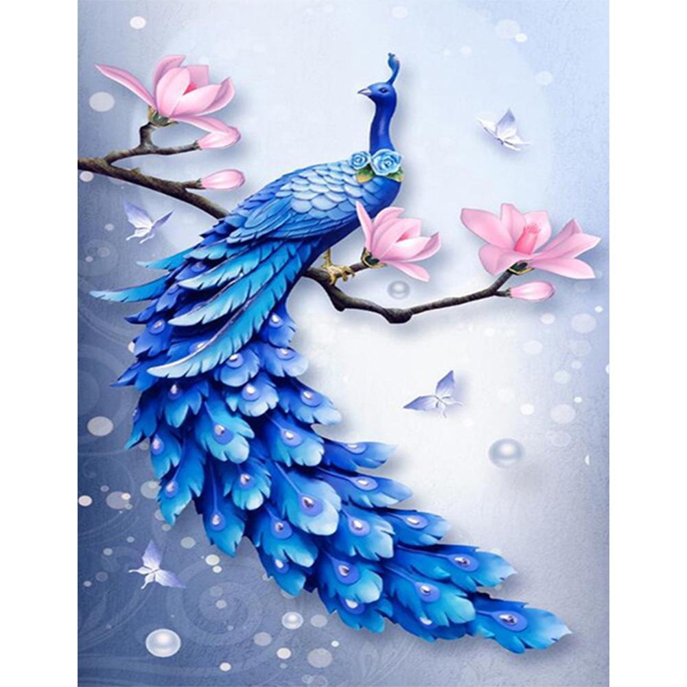 NEW Arrive❀JEA❀5D DIY Diamond Painting Blue Peafowl Cross Stitch Embroidery Kit