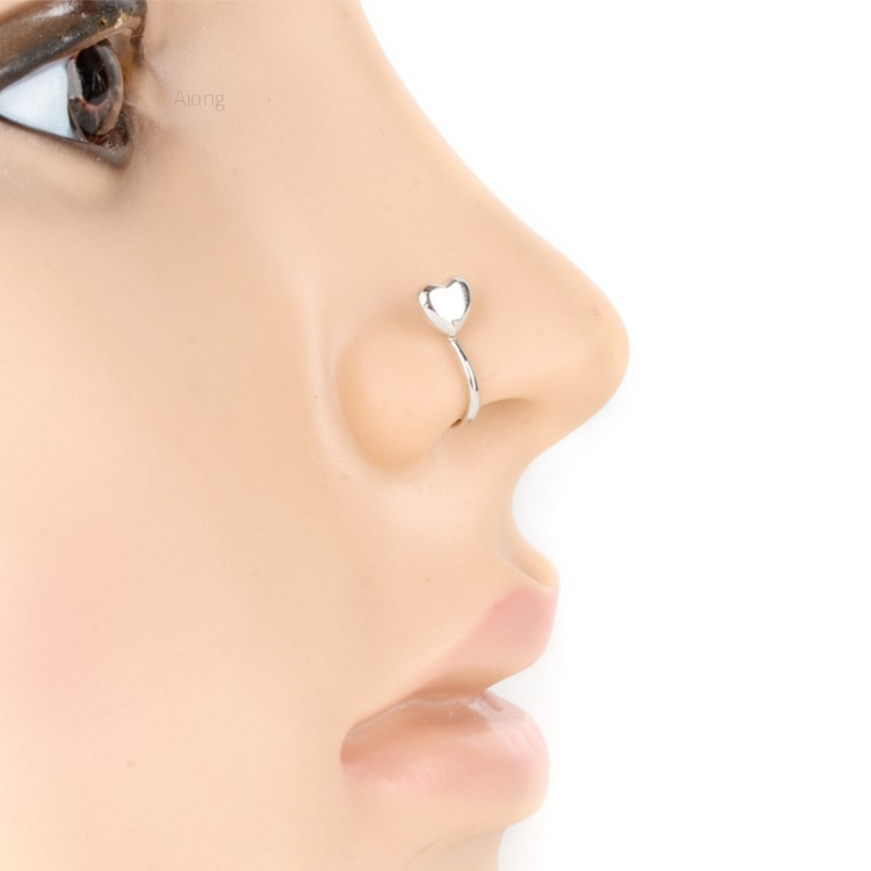 Aiong Stainless Steel Heart Non Piercing Clip On Nose Cuff Ring Nose Clamp Silver Shopee Malaysia