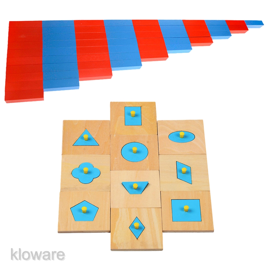 Montessori Wooden Toy Kids Learning Mini Number Rods /& Shape Sort Puzzles