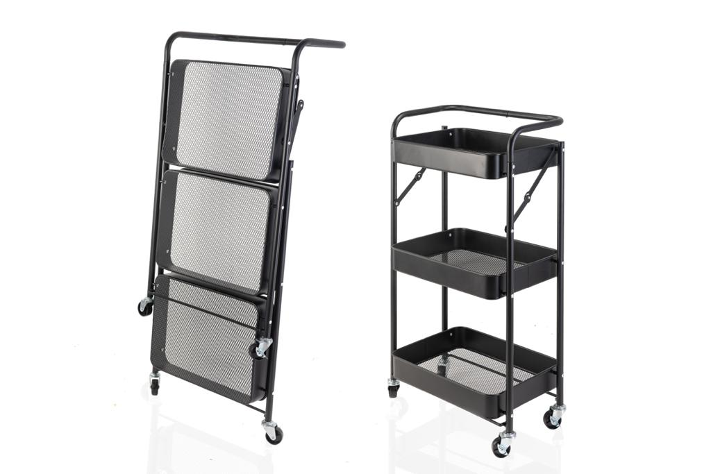 FOLDABLE TROLLEY 3TIER 0383/3 / Utility Rack with wheels 3 tiers