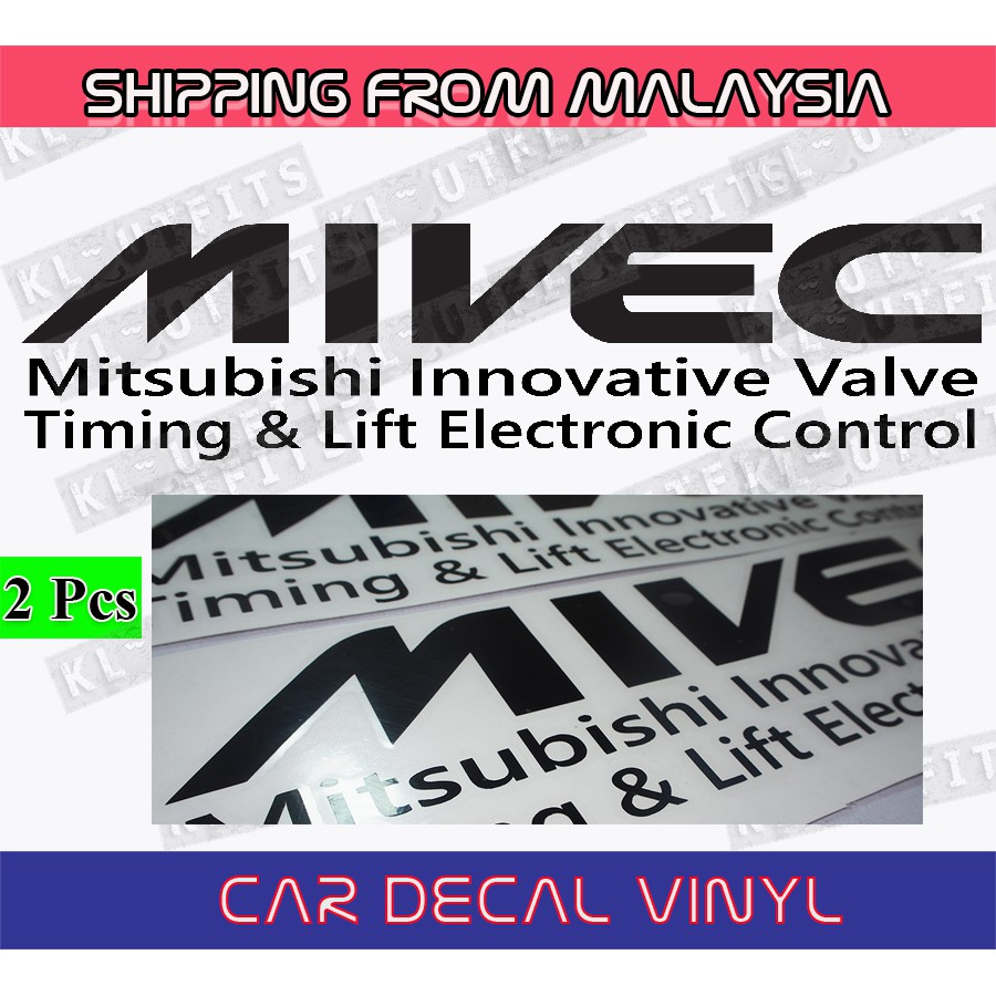 Colors* Mitsubishi MIVEC Decal Pair Stickers *Many Sizes