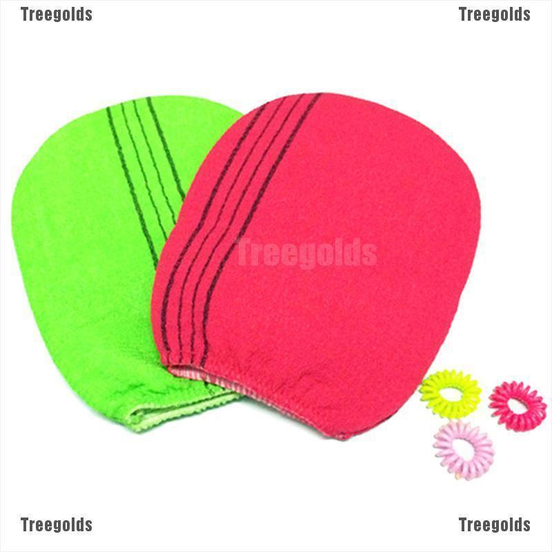 Korean Italy Exfoliating Body Skin Scrub Glove Towel Blue 2 pcs