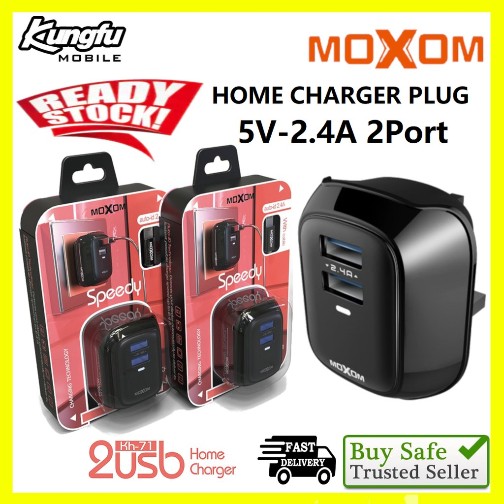 Moxom KH-71 Original Auto-id 2.4A Dual USB Port Charger with Moxom Micro Cable 2.4A