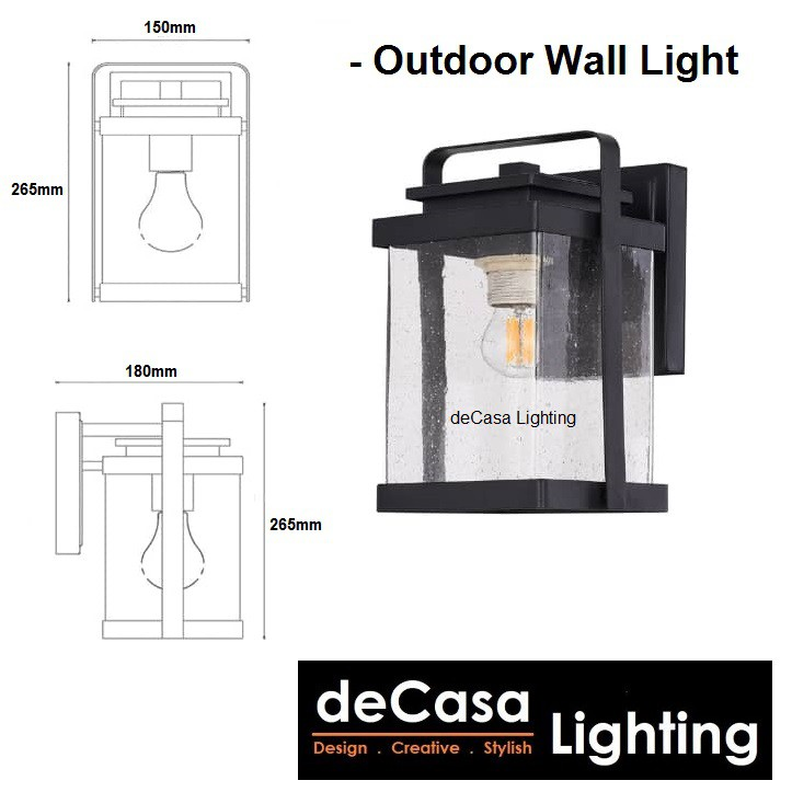 DECASA LIGHTING Set With 12w Led Bulb New Design Outdoor Wall Light E27 Glass Outdoor Wall Lamp Waterproof (2351-BK)