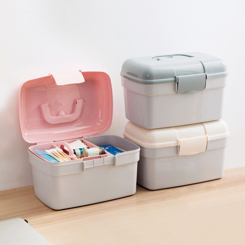 Double-Layer Large Medicine Box Storage Box Portable Home First Aid Kit