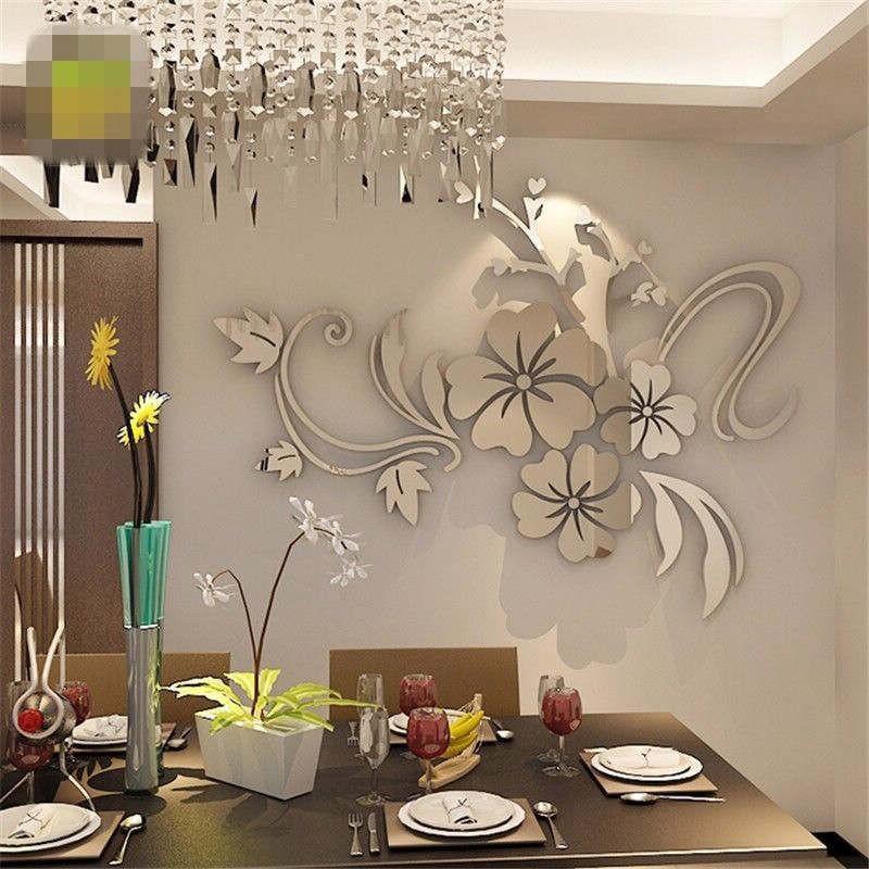 12pcs3D Flowers Art Wall Sticker Decal Mural DIY Home Room Acrylic DecorHot Sale