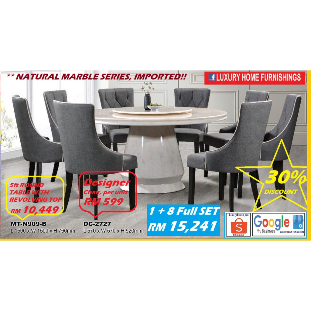 NATURAL MARBLE DINNING SET,  1 +8 FULL SET, IMPORTED SERIES