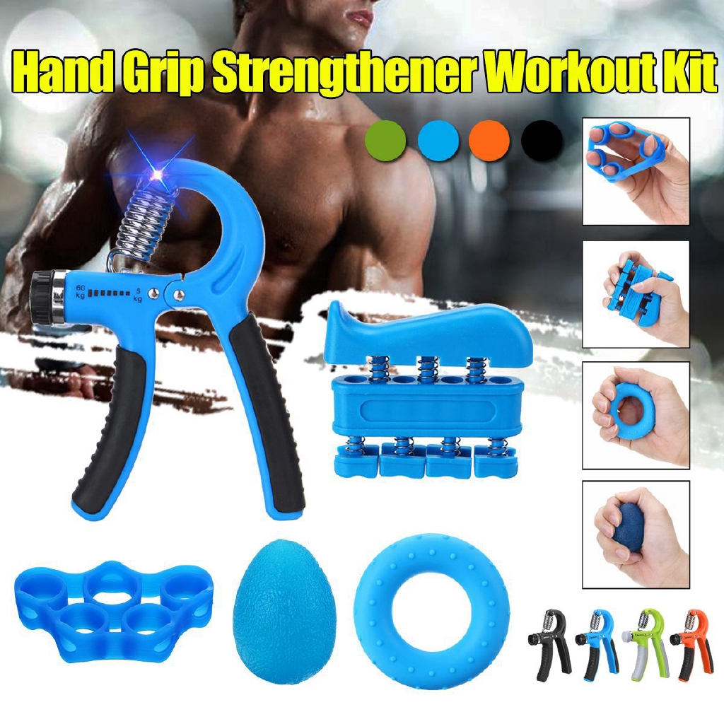 Hand Grip Strengthener Set Workout Exerciser Kit Gripper Grippers Forearm New