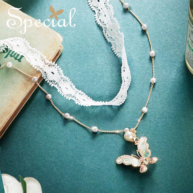Women\'s Necklace Clavicle Chain Choker Lined Skin Dreaming Butterfly 欧美气质女项链颈链锁骨链Choker衬肤盗梦蝴蝶