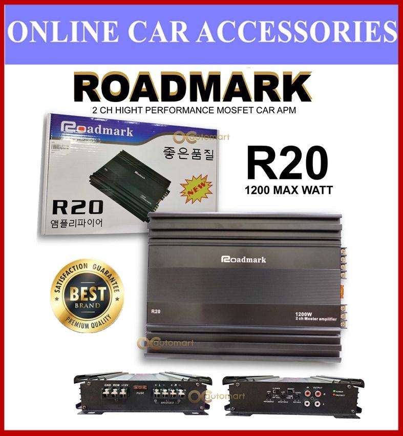 ROADMARK R20 2-CHANNEL CLASS AB HIGH PERFORMANCE MOSFET CAR AMPLIFIER -1200 MAX WATTS