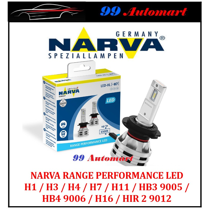 Narva Range Performance Led H1 H3 H4 H7 H8 H11 Hb4 9006 Hb3 9005 9012 Hir2 H16 6500k 12v 24v Car Headlight Bulb Shopee Malaysia