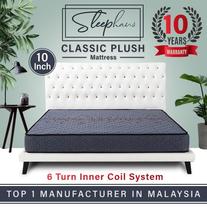 Sleephaus (King) 10 Inch Bamboo Charcoal Fabric Fibre Classic Plush Posture Spring Mattress/Tilam
