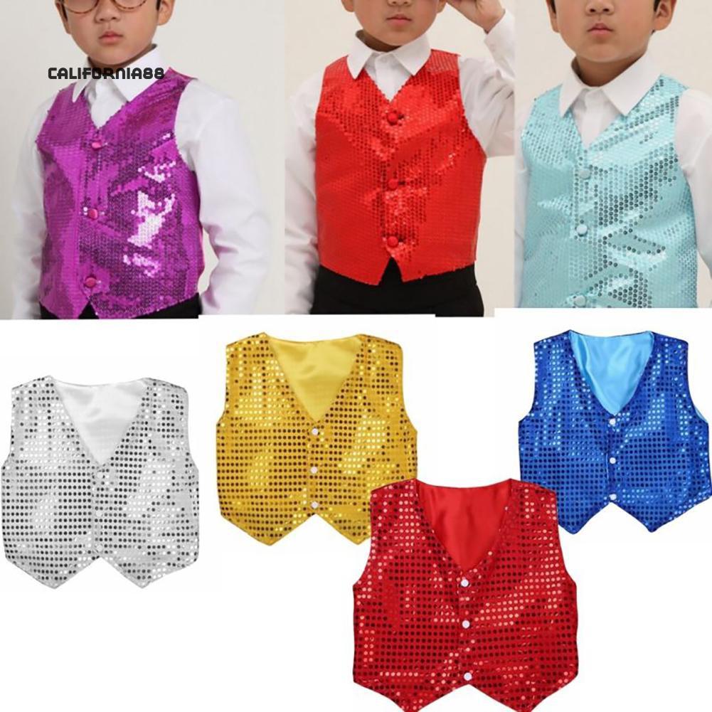 Kids Boys Sequined Shirt Waistcoat Hip-Hop Jazz Choir Dance Stage Suit Costume
