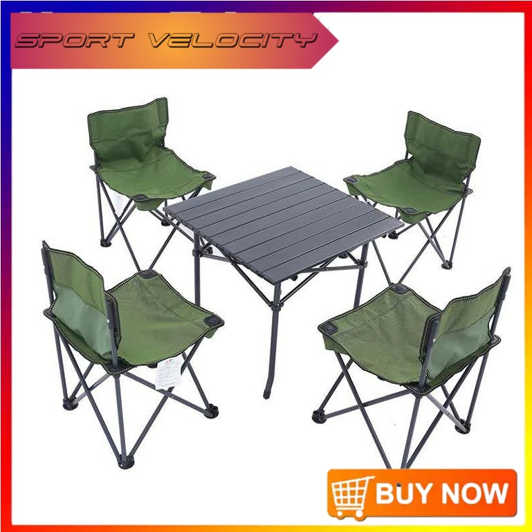 READY STOCK 5 pcs portable folding table and chair outdoor table and chair