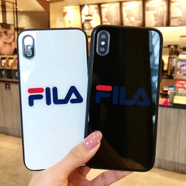 hot sale online 53e89 1e583 iPhoneXS Max XR 6 6s 7 8 Plus FILA Fashion Phone Case Glass Phone Cover
