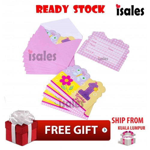 Party Decpration Isales 6pcs Invitation Card Birthday 1st Birthday Girl Kids