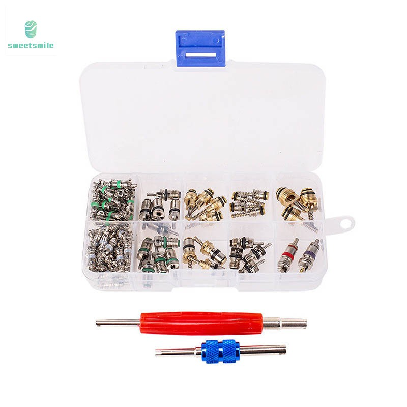 Universal 100pcs Car Air Conditioning Valve Core A//C R12 R134a Remover Tool Kit