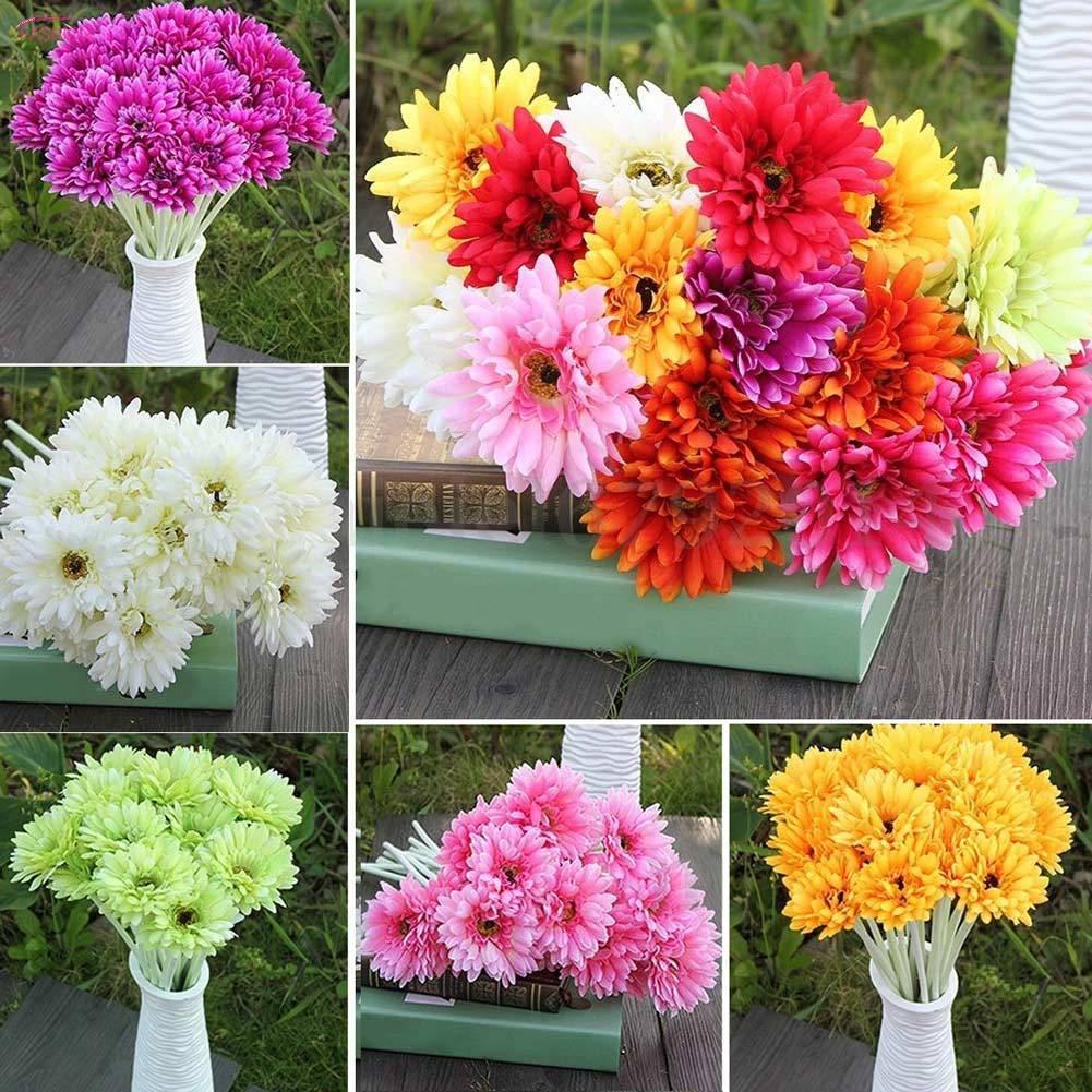 10PCS Large Artificial Silk Daisy Flower Gerbera Wedding Home Party Office Decor