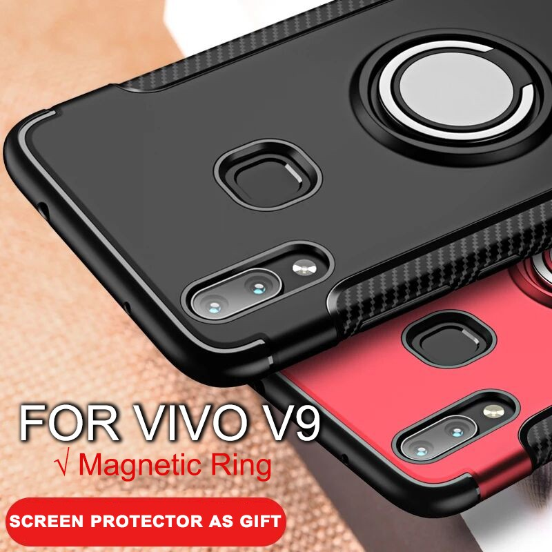 sports shoes d9a66 a6b5d For VIVO V9 Y85 Casing Cover Magnetic Car Ring Hard PC Full Protect Case  Covers
